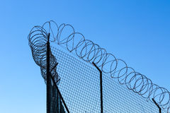 Wired Fence with Spiral Barbwire Royalty Free Stock Image