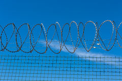 Wired Fence with Spiral Barbwire Royalty Free Stock Photos