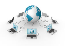 Wired global network visualization Stock Photo