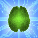 Wired glowing brain over computer microcircuit. Artificial intelligence AI and High Tech Concept. royalty free stock image