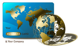 Wired golden globe with business card Royalty Free Stock Photography