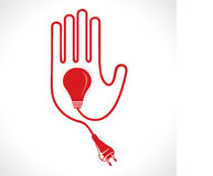 Wired Hand Icon with Bulb and Plug Stock Photos