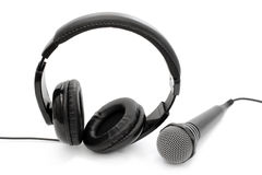 Wired headphones and a microphone Royalty Free Stock Image