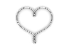 Wired heart. Love, valentine day series; 3d isolated objects Royalty Free Stock Images