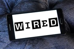 Wired magazine logo. Logo of Wired magazine on samsung mobile. Wired is a monthly American magazine, published in print and online editions, that focuses on how stock photos