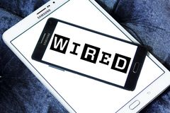 Wired magazine logo. Logo of Wired magazine on samsung mobile. Wired is a monthly American magazine, published in print and online editions, that focuses on how royalty free stock photo
