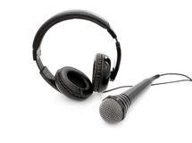 Wired microphone and headphones Royalty Free Stock Photos