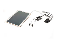 Wired Microphone and Listening System Connected to a Tablet Royalty Free Stock Photo