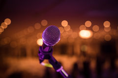 Wired microphone stand on venue royalty free stock image