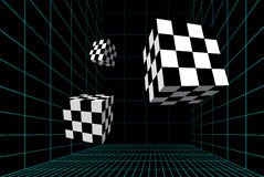 Wired room with checkered cubes Stock Photos