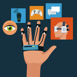 Wired sensor glove technology creativity icons. Vector illustration eps 10 Royalty Free Stock Photo