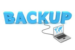 Wired to Backup. Laptop with a world map connected to the blue 3D word BACKUP Royalty Free Stock Image