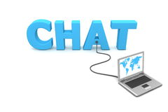 Wired to Chat. One laptop with a world map connected to the blue 3D word CHAT Royalty Free Stock Photography