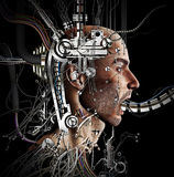 Wired up. A bionic inhuman figure displaying many wire and gadgets vector illustration