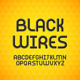 Wired wavy cable, black contour alphabet Stock Images