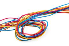 Wired. Wires cord closeup isolated decoration twisted stock photo