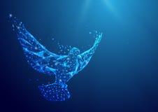 Wireframe和平鸠从一满天星斗的标志滤网在蓝色背景 库存图片