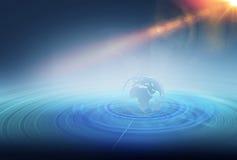 Wireframe在多条扩展线里面的地球地球 库存照片