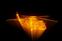 Wireframe在行动的全息图直升机 好的3D翻译 图库摄影