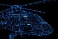Wireframe在行动的全息图直升机 好的3D翻译 库存照片