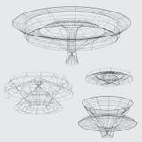 Wireframe των διάφορων μορφών στο γκρίζο υπόβαθρο διανυσματική απεικόνιση