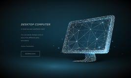 Wireframe монитора компьютера низкое поли Интернет концепции, цифровой, приборы, компьютер Линии и пункты плекса в созвездии иллюстрация штока