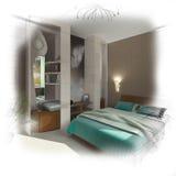wireframe спальни 3d самомоднейшее Стоковое Изображение RF