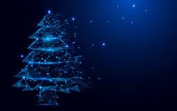 Wireframe从一满天星斗的一个圣诞树标志滤网在蓝色背景 免版税库存照片