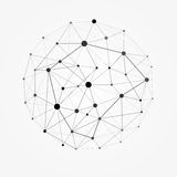Wireframe滤网多角形球形 网络线、设计球形、小点和结构例证 向量例证