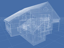 Wireframe. Abstract architectural 3D drawing of apartment house on blue Royalty Free Stock Photos