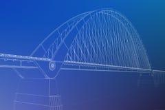 wireframe 3d übertragen von einer Brücke Lizenzfreie Stockfotos