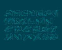 Комплект алфавита граффити Wireframe городской цифров Стоковое Изображение