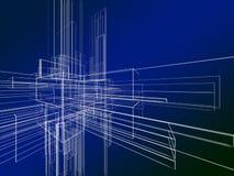 Wireframe abstrait sur le fond bleu