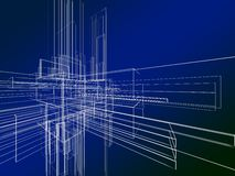 Wireframe abstrato no fundo azul