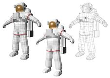 Astronaut standing with extravehicular mobility suite Stock Photos