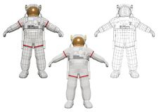 Astronaut standing and equipped with extravehicular mobility sui Royalty Free Stock Images