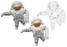 Astronaut in spacewalk outside the spacecraft. Wireframe astronaut in spacewalk outside the spacecraft equipped with extravehicular mobility unit. Spaceman Royalty Free Stock Photography
