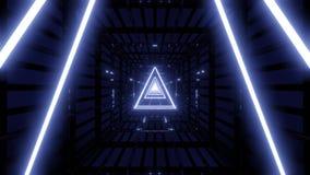 Wireframe azul en t?nel oscuro con el vjloop oscuro del fondo stock de ilustración