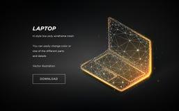 Wireframe basso del computer portatile poli su fondo scuro Illustrazione di ciao-tecnologia del computer portatile Linee e punti  illustrazione di stock