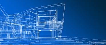 Wireframe bianco della facciata di architettura di progetto di prospettiva esteriore di concetto 3d che rende il fondo blu di pen illustrazione di stock