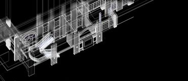 Wireframe blanc d'escalier d'architecture de colonne de fenêtres d'élément de construction de perspective intérieure du concept 3 illustration de vecteur