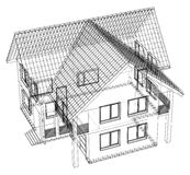 Wireframe blueprint drawing of 3D house - Vector illustration.  Royalty Free Stock Images