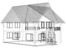 Wireframe blueprint drawing of 3D house - Vector illustration.  Stock Photos
