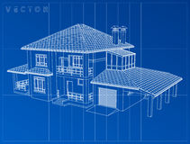 Wireframe blueprint drawing of 3D house - Vector illustration Stock Image