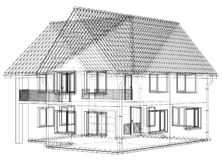 Wireframe blueprint drawing of 3D house - Vector illustration.  Stock Image