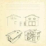Wireframe of building. Royalty Free Stock Photography