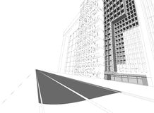 Wireframe building cityscape Royalty Free Stock Photos