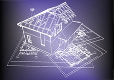 Wireframe building over blueprint Stock Photography