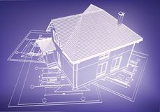 Wireframe building over blueprint Stock Images