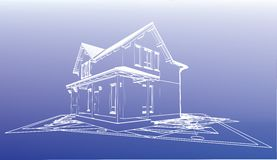 Wireframe building over blueprint Royalty Free Stock Images